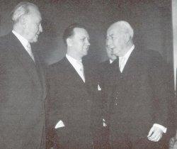 29. März 1955: H.C. Hansen und Konrad Adenauer bei Bundespräsident Theodor Heuß