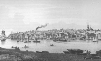 Altona von der anderen Elbseite, Lithographie um 1860 von Wilhelm Heuer