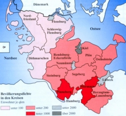 Die Grafik gibt einen guten Eindruck über das heute noch auffällige Süd-Nord-Gefälle der Besiedlung des Landes