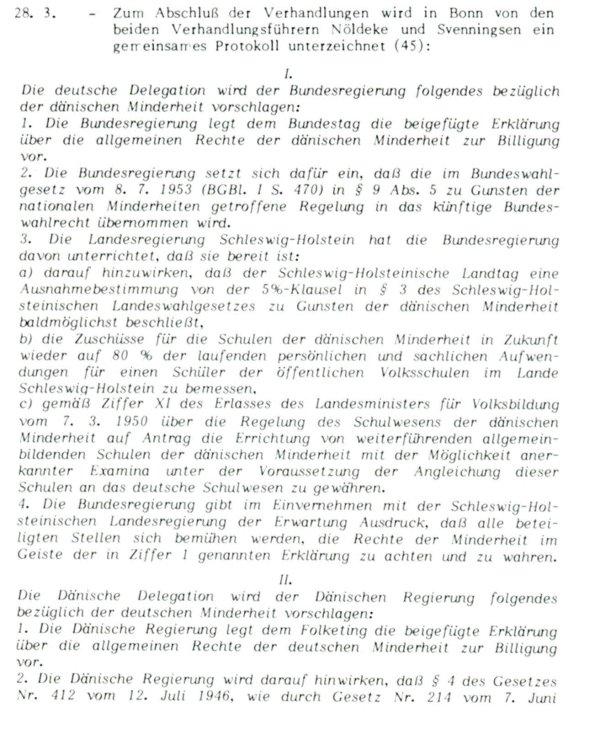 """aus """"Die Bonn-Kopenhagener Erklärungen von 1955 - Zur Entstehung eines Modells für nationale Minderheiten"""" Grenzverein, Flensburg, 1985, S. 122 ff.:"""