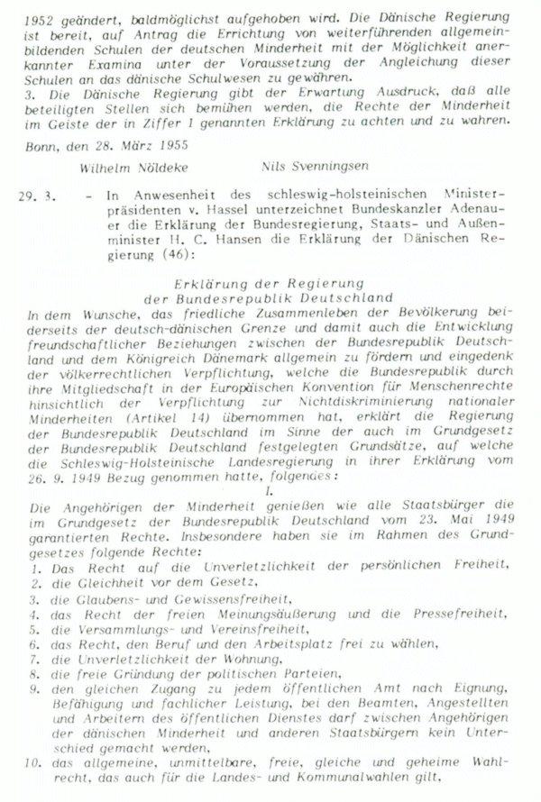 """Quelle: """"Die Bonn-Kopenhagener Erklärungen von 1955 - Zur Entstehung eines Modells für nationale Minderheiten"""" Grenzverein, Flensburg, 1985, S. 122 ff.:"""