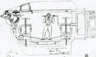 Ein Entwurf für ein Tauchboot von Bauer aus dem Jahr 1850. Die Kommission kritisierte: zu kurz und ein Mann reiche nicht, um das Schiff per Hand anzutreiben