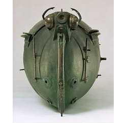 """Bauers zweites Modell von 1851, das schon wesentlich """"moderner"""" als der kastenförmige Brandtaucher wirkt"""