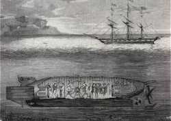 """Stahlstich aus der """"Gartenlaube"""": Tauchfahrt des """"Seeteufels"""" mit Militärkapelle an Bord 1855 in Russland. Bemerkenswert ist der zusätzliche, quereingebaute Propeller hinten, der heute als Querstrahlruder wieder in Gebrauch ist"""