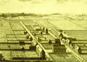 Der Stich aus dem Jahre 1780 zeigt den Beginn der Siedlung in Christiansfeld. Fertig sind bereits alle Gemeinschaftsbauten wie Kirche, die Häuser für ledige Schwestern und Brüder, Kaufmannsladen und der