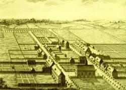 """Der Stich aus dem Jahre 1780 zeigt den Beginn der Siedlung in Christiansfeld. Fertig sind bereits alle Gemeinschaftsbauten wie Kirche, die Häuser für ledige Schwestern und Brüder, Kaufmannsladen und der """"Gottesacker"""""""