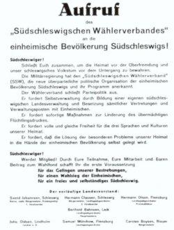 Aufruf zur Gründung des SSW im Sommer 1948