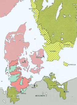 Die Karte zeigt den Territorialbesitz Schwedens, Dänemarks und Schleswig-Holstein-Gottorf 1658/60. Hellrot: Königreich Dänemark; Rot: königlicher Anteil an den Herzogtümern; Grün: Schleswig-Holstein-Gottorf (Herzoglicher Anteil); Gelb Karo: Königreich Schweden; Gelb unterbrochen straffiert: Dänisches Gebiet, verpfändet an Schweden zu Kriegsbeginn; Gelb straffiert: Gebiete, die mit dem Friedensschluß am 26.2.1658 an Schweden abgetreten wurden.