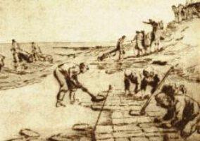 Die Zeichnung von Alexander Eckener über das Besticken des Außendeichfußes für Theodor Storms Novelle