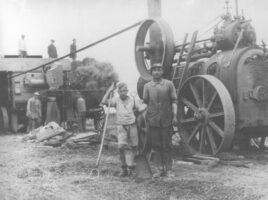 Döschdamper treibt Dreschkasten, Gut Saxdorf um 1930