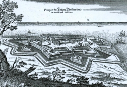 Ansicht der Festung Christianspries um 1640 von Mattheus Merian. Die fünfeckige Anlage mit zwei vorgelagerten Ravelins ist im Inneren noch spärlich bebaut und nur über zwei Brücken zu erreichen.