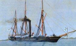 """Das Kanonenboot """"Von der Tann""""- genannt """"de Schruv"""". Mit seinem Schraubenantrieb gehörte das Kanonenboot Nr. 1 zu den innovativen Neubauten der schleswig-holsteinischen Flottille"""