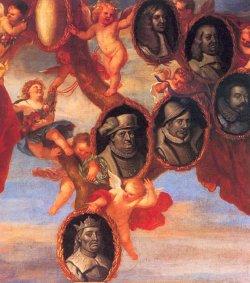Stammbaum der Gottorfer Herzöge. Ausschnitt aus einem Gemälde von Jürgen Ovens um 1655. Dargestellt sind (von unten) König Christian I. und die Herzöge Friedrich I., Adolf, Johann Adolf, Friedrich III. und Christian Albrecht