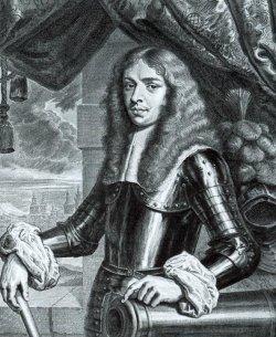 Herzog Christian Albrecht. Kupferstich von Richard Collin, 1664. Durch die Wandöffnung fällt der Blick auf das herzogliche Schloß Tönning