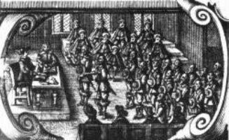 Das Hardesgericht tagt: Am Tisch mit Hut der Hardesvogt und sein Schreiber, davor die Parteien, mit Hüten im Hintergrund die bäuerlichen Beisitzer, mit dem Hut in der Hand die Mitglieder der Gerichtsgemeinde. Ausschnitt aus dem Titelblatt von Christen Ostersen Vejle, Glossarium Juridico Danicum von 1652