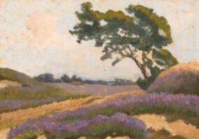 Ölskizze von N. Bachmann: Heidelandschaft auf der Geest