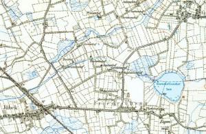 """Nochmal die Kolonie """"Friedrichsau"""" östlich von Jübeck: der König, seine Familie, Minister und Beamte standen Pate für die bis heute erhaltenen Namen. Per Mausklick wird die Karte größer dargestellt."""