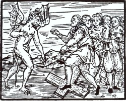 Der Teufelsbund wird geschlossen, das christliche Kreuz mit Füßen getreten. Darstellung vom Anfang des 17.Jahrhunderts.