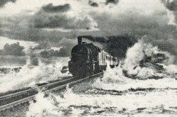Der Hindenburgdamm bei Sturmflut