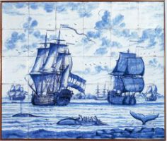 Niederländische Walfangschiffe im Nordmeer