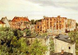 Die Ruine des Kieler Schlosses 1957 gesehen von der Kattenstraße (heutiger Standort des Konzertsaales) auf einem Gemälde von Franziska Hamann