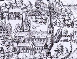 Ausschnitt aus einer Stadtansicht: Kloster und Klosterkirche von Segeberg um 1594