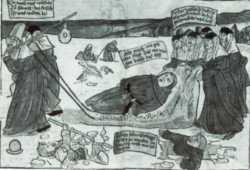 """Nonnen bringen einen """"geschwollen und foll"""" - also betrunkenen - Abt nach einem Zechgelage nach Hause. Der Holzschnitt ist ein Spottbild aus der Mitte des 15. Jahrhunderts in dem die verweltlichte Lebensart in den Klöstern karikiert wurde"""
