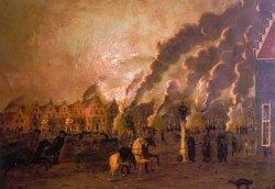Kosaken ziehen durch das brennende Friedrichstadt: Ölbild von Georg David Thomsen