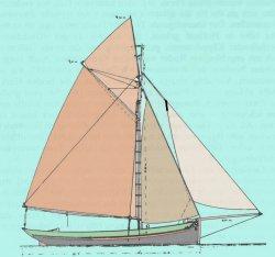 Seitenriß des ersten speziellen Krabbenkutters, den Gustav Junge baute