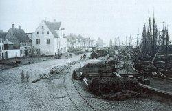 Die Zeiten waren endgültig vorbei: Mastenwald an der Flensburger Schiffbrücke 1864