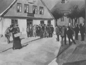 Menschenmarkt in Wesselburen, Ölbild von Nikolaus Bachmann