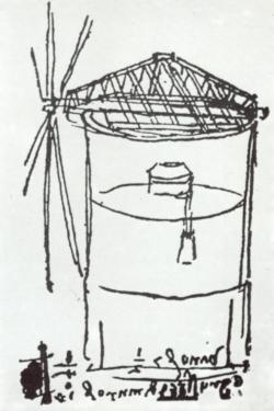 Skizze von Leonardo da Vinci für eine Turmmühle mit drehbarer Kappe.