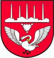 Das holsteinische Nesselblatt und der Schwan, der identisch ist mit dem Stormarner, sind die traditionellen Elemente des Stadtwappens von Neumünster. 1930 wurde es neu gestaltet und durch die Industriesilhouette ergänzt