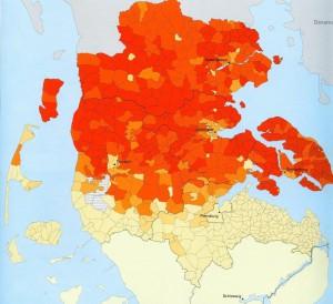 Die Karte zeigt den Anteil der Bevölkerung mit dänischer Muttersprache im nördlichen Schleswig-Holstein 1905. In den dunkel rötlich angelegten Flächen erreichte er 90 bis 100 Prozent. Durch Klicken auf die Karte öffnet sich eine vergrößerte Darstellung.