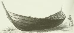 Das Nydamboot, gezeichnet von seinem Entdecker Conrad Engelhardt