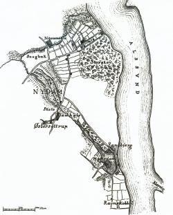 Karte des Nydammoores am Alsensund: bis 1920 deutsch, seitdem dänisch, vom dänischgesinnten Engelhardt schon 1863 dänisch beschriftet