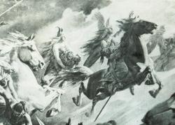 Pferde als Lieblinge der Götter: Auf der Lithographie aus dem 19.Jahrhundert fliegen Walküren auf stolzen Rossen über das Schlachtfeld, um die gefallenen Helden nach Walhalla zu bringen