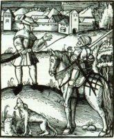 Bauer und Ritter: Holzschnitt von Erasmus Amman 1521