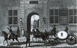 """Zwischen 1815 und 1842 verkehrten die dänischen """"Kugelpostwagen"""". Die abnehmbare Kugel konnte im Winter auf Kufen gesetzt werden. Entscheidend war jedoch der Wunsch, daß die Postillione keine Mitfahrer mitnahmen. Das geschah trotzdem, obwohl die Kugeln zusätzlich durch Spitzen """"unbequem"""" gemacht wurden"""