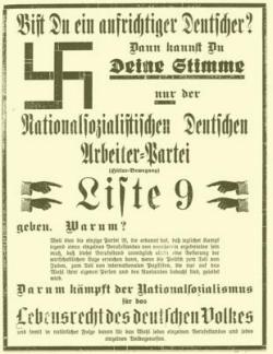 """Anzeige der NSDAP im """"Dithmarscher Boten"""" vom 14. November 1929"""