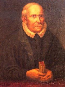 Harmen Tast (so die niederdeutsche Form) auf einem Gemälde von Richard von Hagn, das bis heute in der Hermann-Tast-Schule in Husum hängt