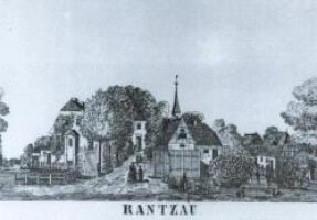 Idylle pur: die Zeichnung von 1852 zeigt das ehemalige Machtzentrum der Reichgrafschaft Rantzau. Die Allee führt auf den (damals allerdings schon umgebauten) Sitz der Reichsgrafen im Barmstedt