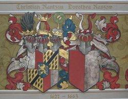 Deckengemälde im Spiegelsaal von Schloß Breitenburg: Die Wappen des ersten Reichsgrafen Christian und seiner Frau Dorothea