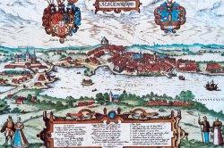 """Ansicht von Schleswig 1584 bevor die Stadt zu einer """"combinirten"""" zusammenwuchs"""