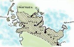 """Diese Grafik entstand bei den """"Husumer Nachrichten"""" in den Tagen des """"großen Schnees"""". Sie zeigt das Gebiet, das am Jahreswechsel 1978/79 hauptsächlich von den Unwetter betroffen war. Auch wenn die Karte nicht den Eindruck vermittelt: zumindest in seinen Ausläufern erreichte der """"Große Schnee"""" auch Dänemark"""