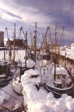 """Nach dem Sturm schien die Sonne auf den """"großen Schnee"""" und zauberte idyllisches wie hier im Hafen von Husum"""