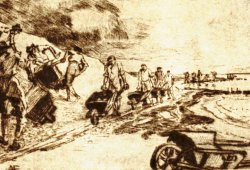 Die Illustration von Alexander Eckener (1870 bis 1944) gibt einen guten Eindruck vom Einsatz der Schubkarre beim Deichbau