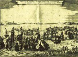 """Die entscheidende Seeschlacht auf der """"Colberger Heyde"""" 1644 Kupferstich eines unbekannten Meisters"""