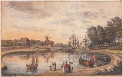 Schleuse Knoop, kolorierte Radierung von Carl Daniel Voigts 1805