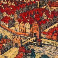 Die Holstenbrücke in Kiel aus dem Städtebuch von Braun und Hogenberg 1588